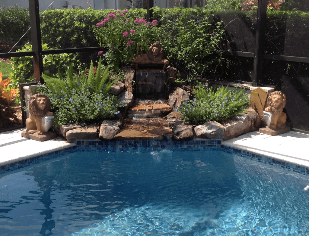 Waterfalls fountains koi ponds lombardo landscaping for Landscaping rocks fort myers fl
